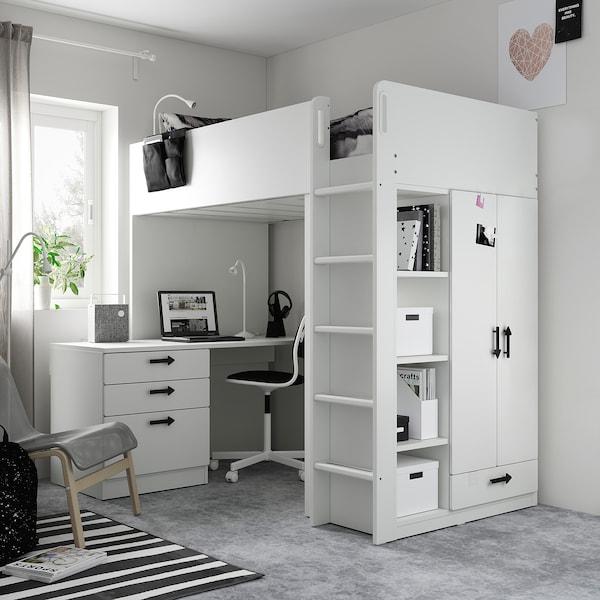 SMÅSTAD سرير عالي, أبيض أخضر/مع مكتب مع 4 أدراج, 90x200 سم