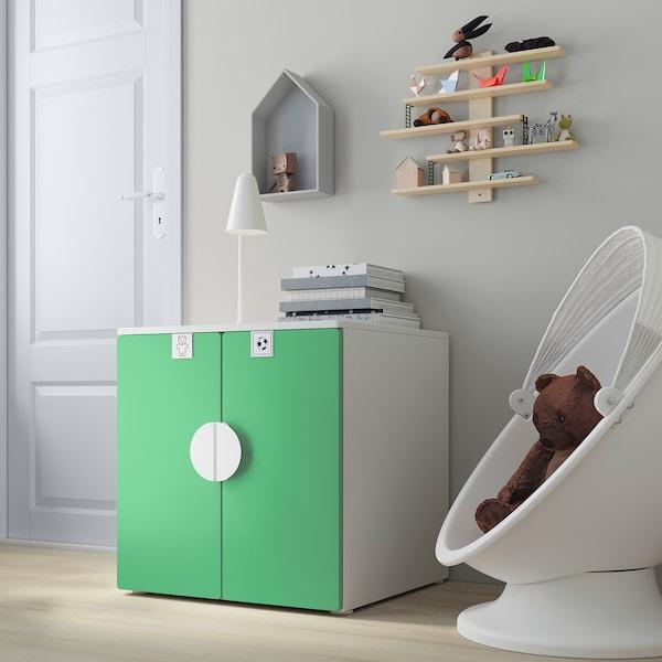 SMÅSTAD / PLATSA Cabinet, white green/with 1 shelf, 60x57x63 cm