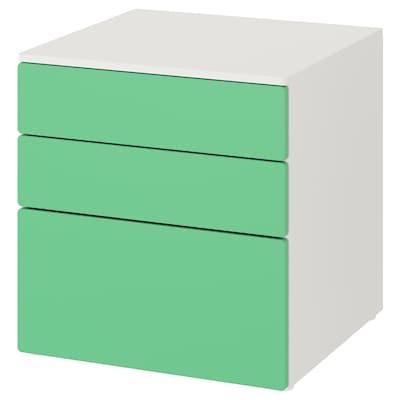 SMÅSTAD / PLATSA Chest of 3 drawers, white/green, 60x57x63 cm