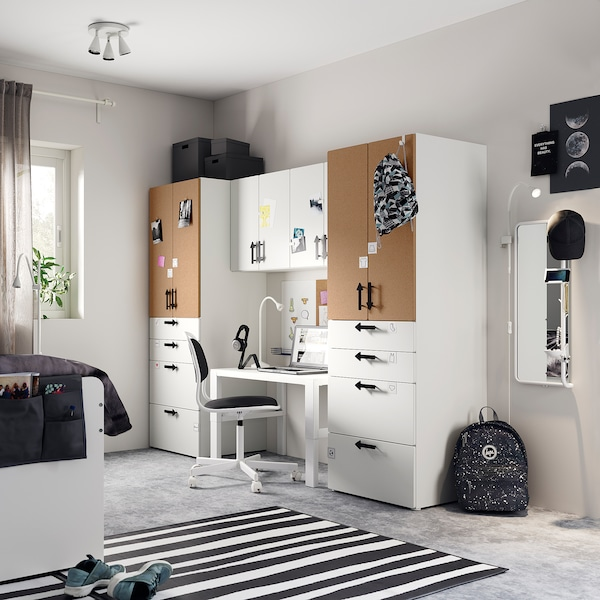 SMÅSTAD Storage combination, white/cork, 240x57x181 cm