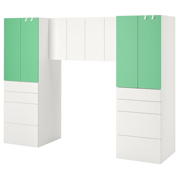 SMÅSTAD Storage combination, white/green, 240x57x181 cm