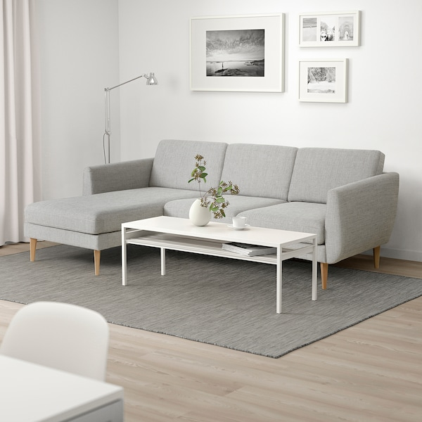 SMEDSTORP 3-seat sofa with chaise longue, Viarp/beige/brown oak