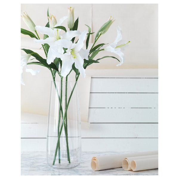 SMYCKA Artificial flower, Lily/white, 85 cm