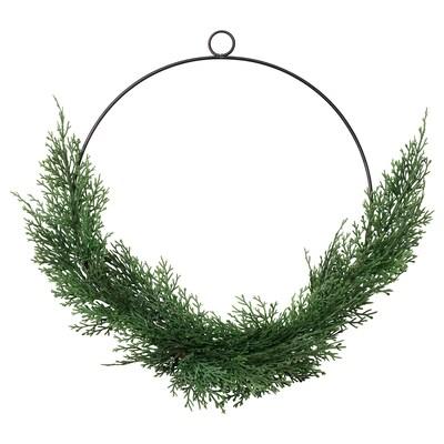 SMYCKA Artificial wreath, in/outdoor cypress, 38 cm