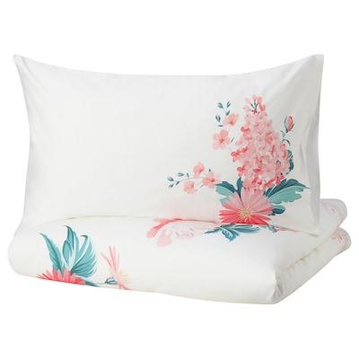 SNÖARV Duvet cover and 2 pillowcases, floral patterned, 240x220/50x80 cm