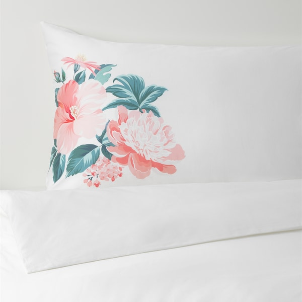 SNÖARV Quilt cover and 2 pillowcases, floral patterned, 240x220/50x80 cm