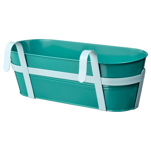 SOCKER flower box with holder in/outdoor turquoise 51 cm 19 cm 17 cm
