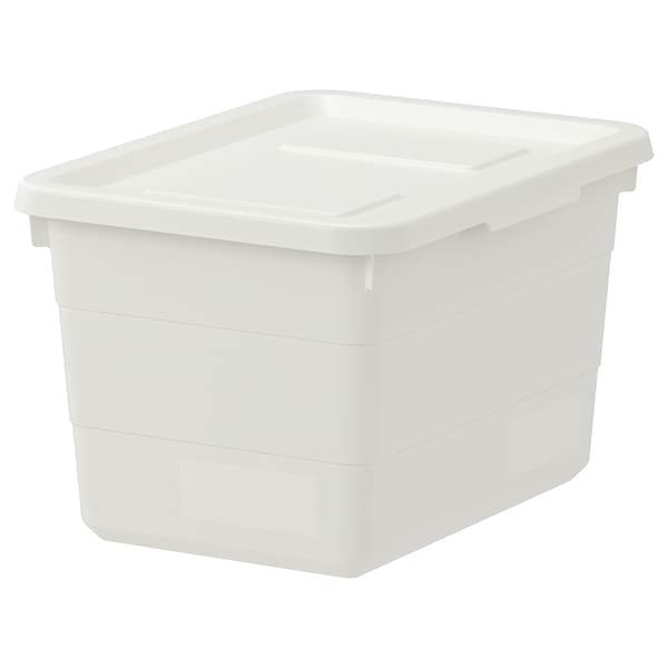 SOCKERBIT Box with lid, white, 19x26x15 cm