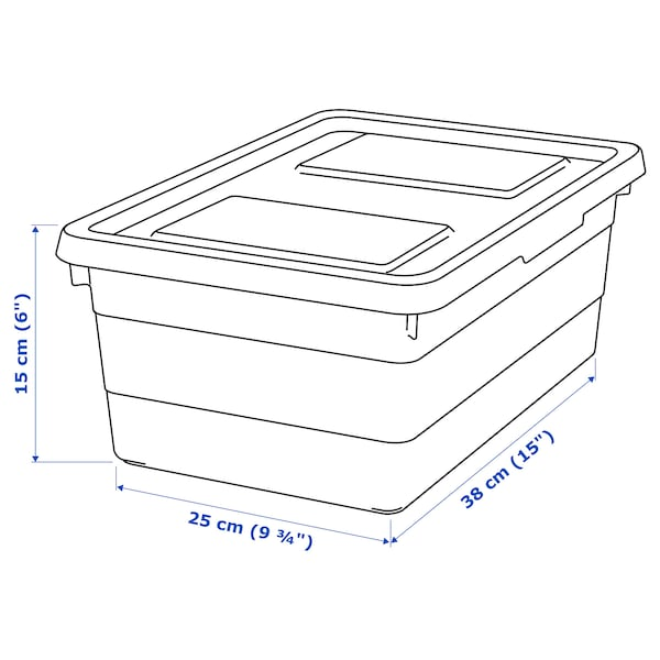 SOCKERBIT box with lid white 38 cm 25 cm 15 cm