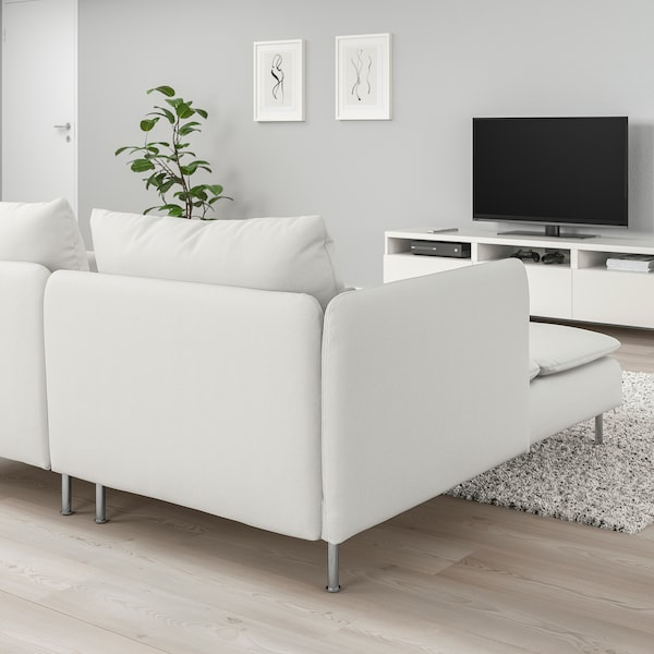 SÖDERHAMN 4-seat sofa, with chaise longue and open end/Finnsta white