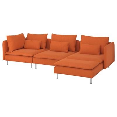SÖDERHAMN 4-seat sofa, with chaise longue/Samsta orange