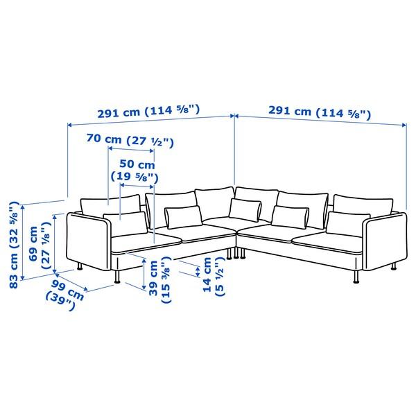 SÖDERHAMN Corner sofa, 6-seat, Finnsta white