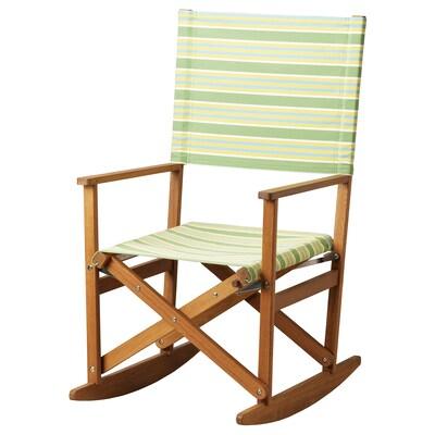 SOLBLEKT كرسي هزّاز, قابل للطي شجر اليوكاليبتوس/مخطط أخضر