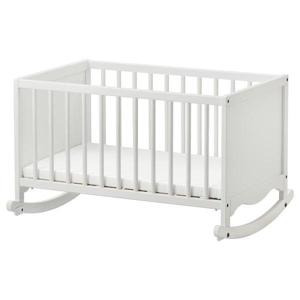 SOLGUL cradle with foam mattress white 84 cm 66 cm 53 cm 81 cm 50 cm