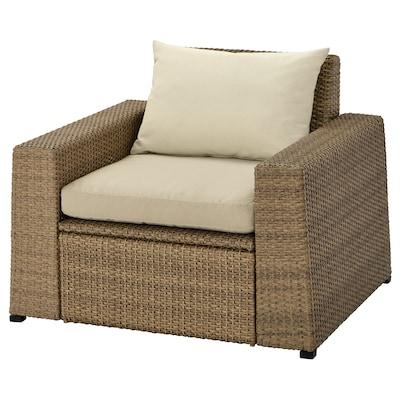 SOLLERÖN Armchair, outdoor, brown/Hållö beige