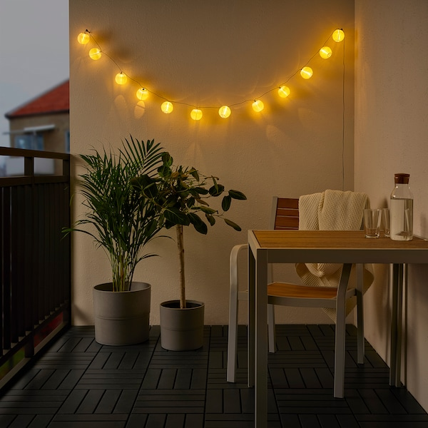SOLVINDEN LED lighting chain with 12 bulbs, outdoor/battery-operated white
