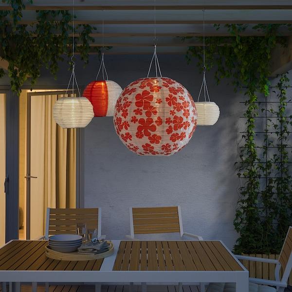 SOLVINDEN LED solar-powered pendant lamp, outdoor globe/flower, 45 cm
