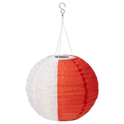 SOLVINDEN LED solar-powered pendant lamp, white orange/outdoor globe, 30 cm
