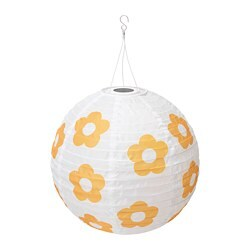 SOLVINDEN LED solar-powered pendant lamp, outdoor globe, flower patterned yellow