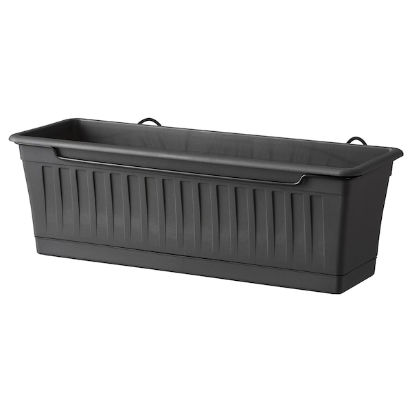 SOMMARFEST flower box with holder in/outdoor anthracite 50 cm 20 cm 18 cm