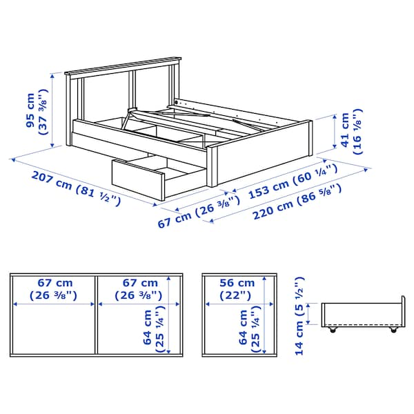 SONGESAND bed frame with 2 storage boxes brown/Luröy 14 cm 207 cm 153 cm 56 cm 64 cm 41 cm 95 cm 200 cm 140 cm