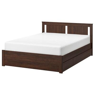 SONGESAND هيكل سرير+4 صناديق تخزين, بني/Lonset, 160x200 سم