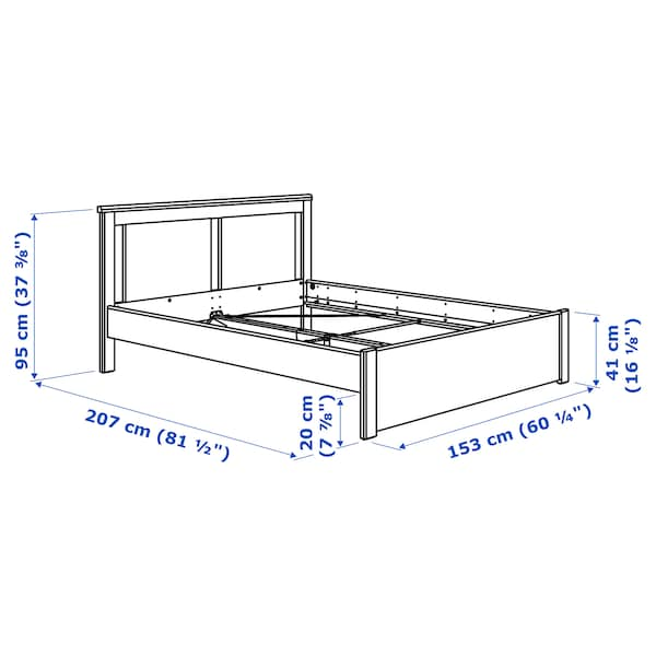 SONGESAND bed frame brown/Lönset 207 cm 153 cm 41 cm 95 cm 20 cm 200 cm 140 cm