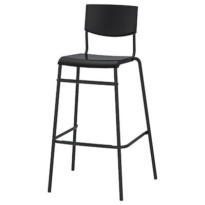 STIG Bar stool with backrest, black/black, 74 cm