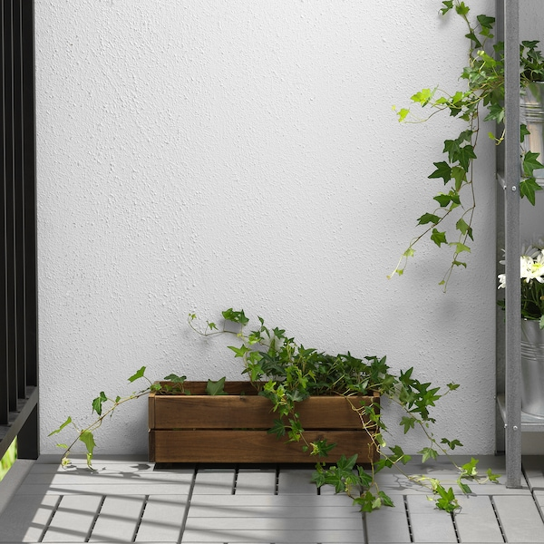 STJÄRNANIS flower box outdoor acacia 43 cm 15 cm 14 cm