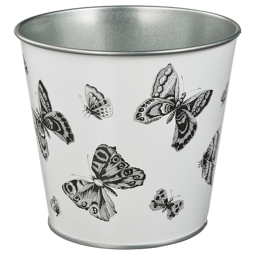 STJÄRNFRUKT plant pot in/outdoor white/black 12 cm 14 cm 12 cm 13 cm