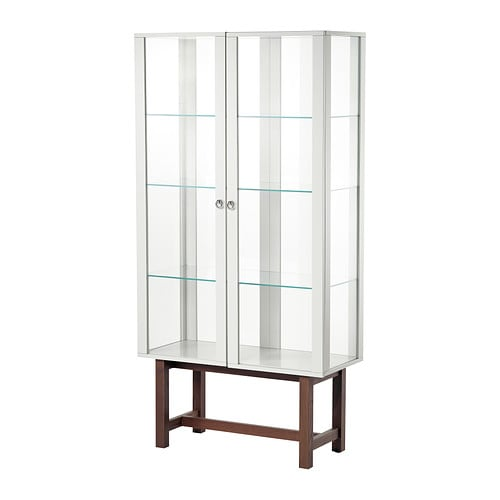 Stockholm glass door cabinet beige ikea for Meuble vitrine ikea