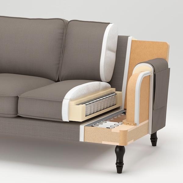 STOCKSUND كنبة 3 مقاعد, Nolhaga أخضر غامق/أسود/خشبي