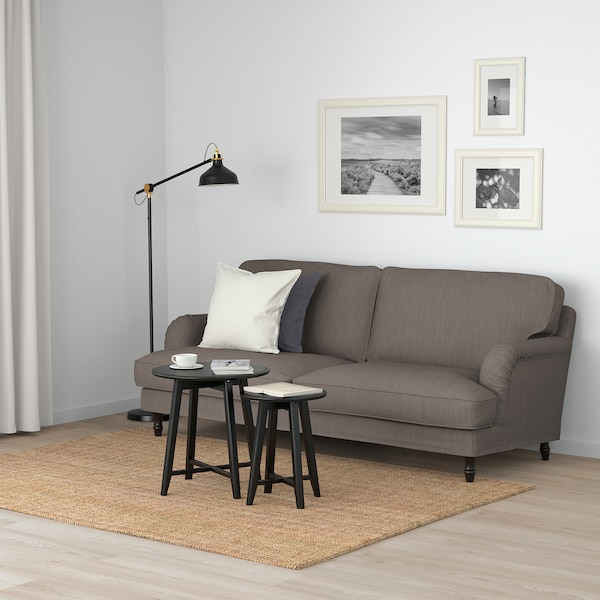 STOCKSUND كنبة 3 مقاعد, Nolhaga رمادي-بيج/أسود/خشبي