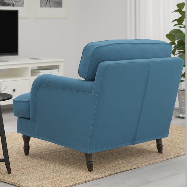 STOCKSUND كرسي بذراعين, Ljungen أزرق/أسود/خشبي