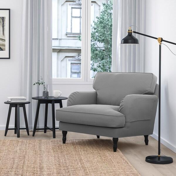 STOCKSUND كرسي بذراعين, Ljungen رمادي معتدل/أسود/خشبي