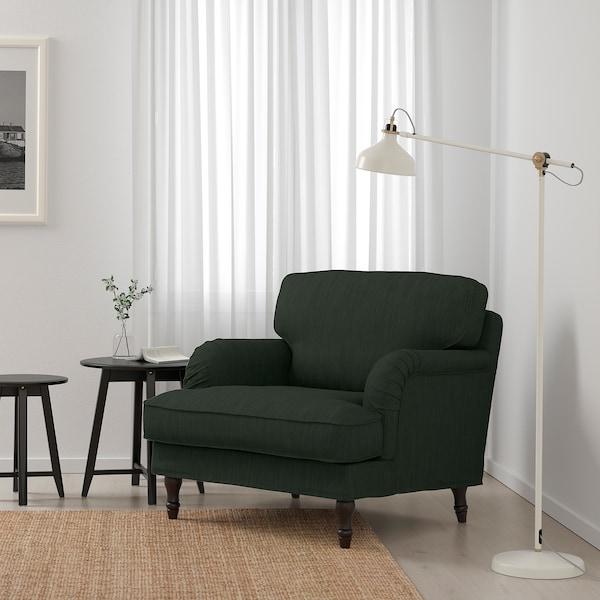 STOCKSUND كرسي بذراعين, Nolhaga أخضر غامق/أسود/خشبي