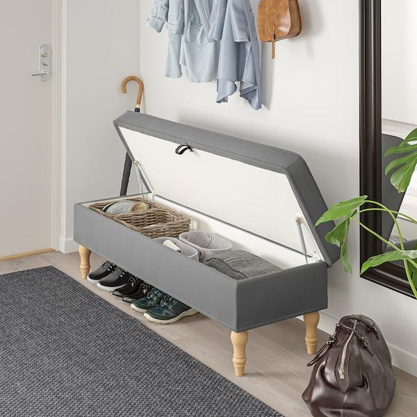 STOCKSUND Bench, Ljungen medium grey/light brown/wood