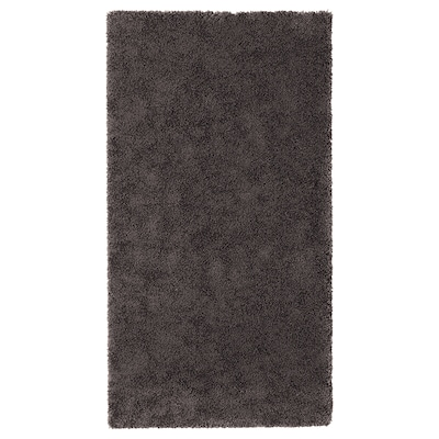 STOENSE Rug, low pile, dark grey, 80x150 cm