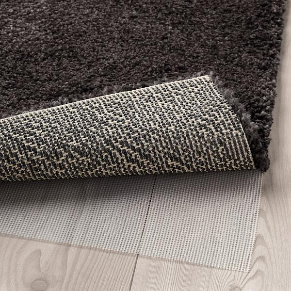 STOENSE Rug, low pile, dark grey, 80x150 cm