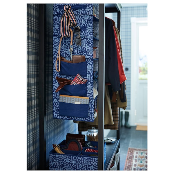 STORSTABBE Hanging storage with 7 compartments, blue/white, 30x30x90 cm