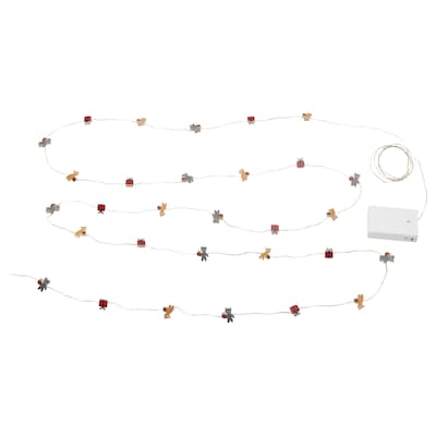 STRÅLA LED lighting chain with 30 lights, battery-operated bear
