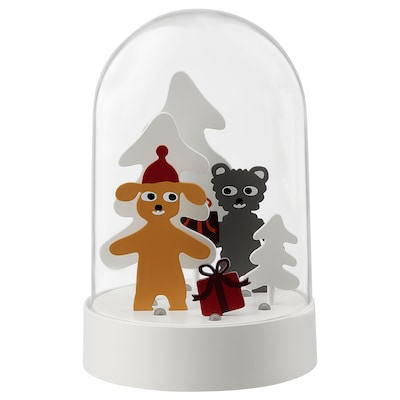 STRÅLA LED table decoration, bear with gift