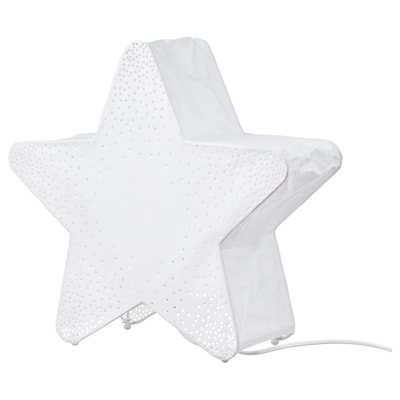 STRÅLA Table decoration, box star-shaped/dotted white