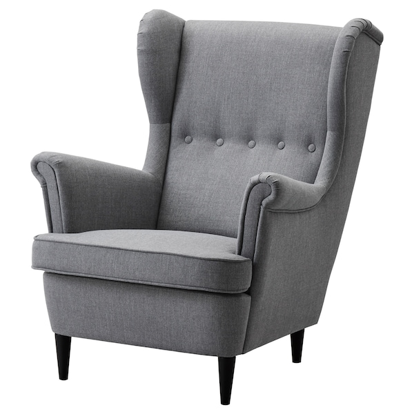STRANDMON Wing chair, Nordvalla dark grey