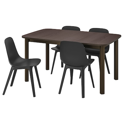 STRANDTORP / ODGER Table and 4 chairs, brown/anthracite, 150/205/260x95 cm