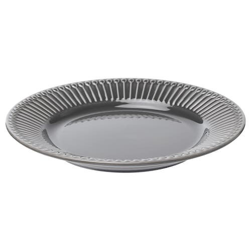 STRIMMIG side plate earthenware grey 21 cm