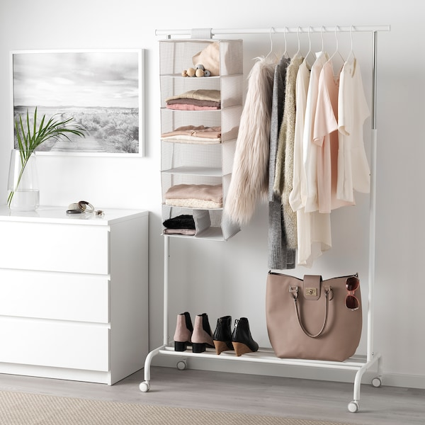 STUK Storage with 7 compartments, white/grey, 30x30x90 cm