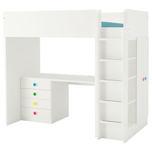 STUVA / FÖLJA loft bed combo w 4 drawers/2 doors white 155 cm 62 cm 74 cm 182 cm 142 cm 99 cm 207 cm 100 kg 200 cm 90 cm 20 cm