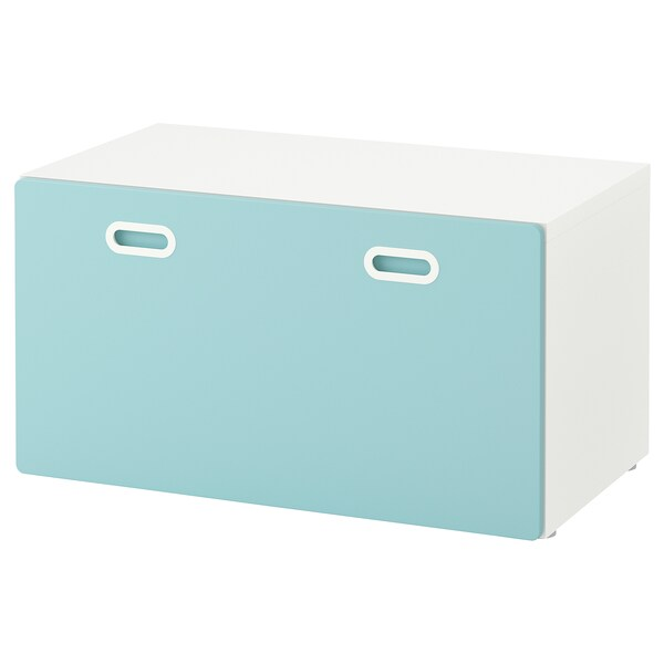 STUVA / FRITIDS bench with toy storage white/light blue 90 cm 50 cm 50 cm