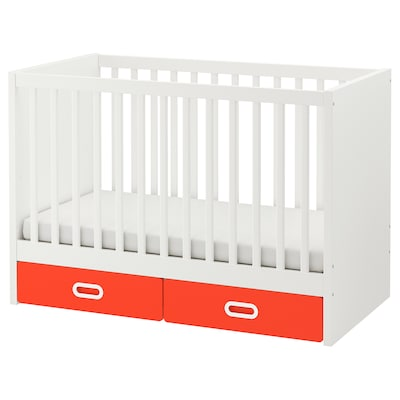 STUVA / FRITIDS Cot with drawers, red, 60x120 cm